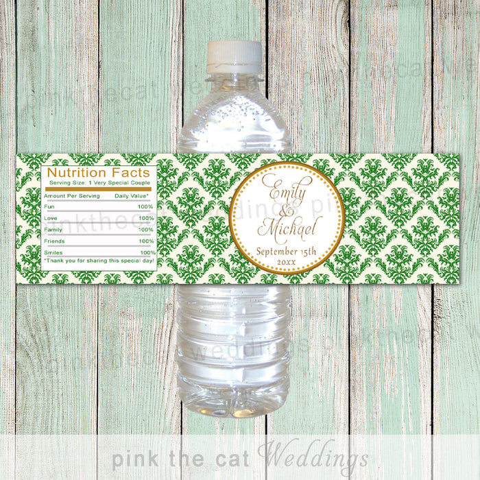 Damask Bottle Label Wedding Green Gold