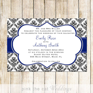 navy blue damask wedding invitation