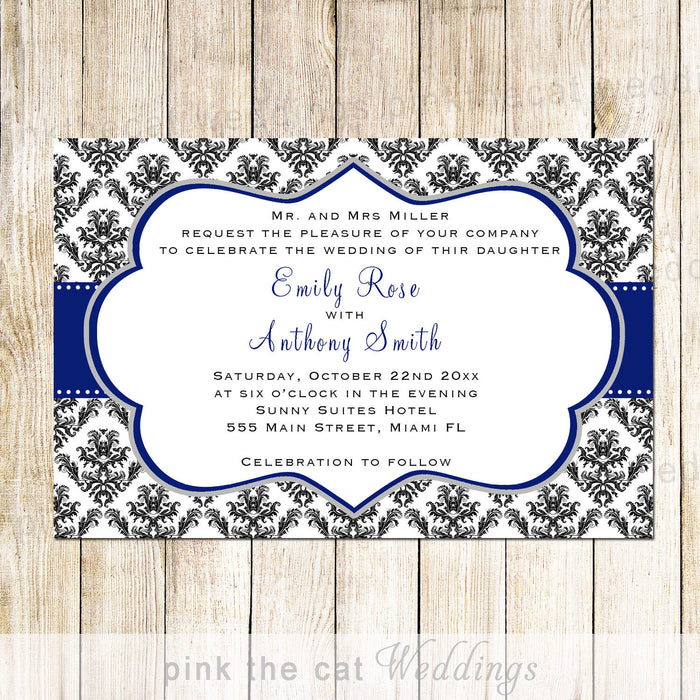 Damask Wedding Invitation Navy Blue Black