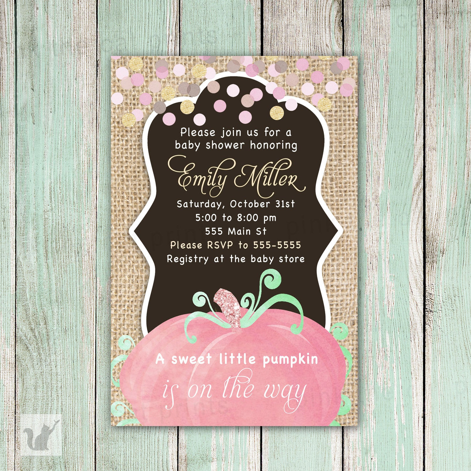 pumpkin invitation baby girl shower fall rustic burlap pink the cat