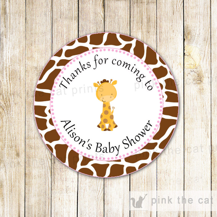 Giraffe Label Thank You Tag Gift Favor Stickers Pink Birthday Baby Girl Shower
