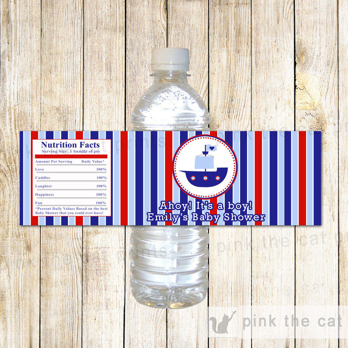 Nautical Bottle Label Blue Red Birthday Baby Shower