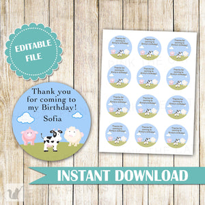 Farm Favor Label Gift Tag Animals Kids Birthday Baby Shower