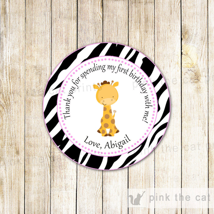 Giraffe Birthday Baby Girl Shower Gift Favor Label Tag Sticker Zebra Pink