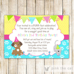 puppy kitten invitation