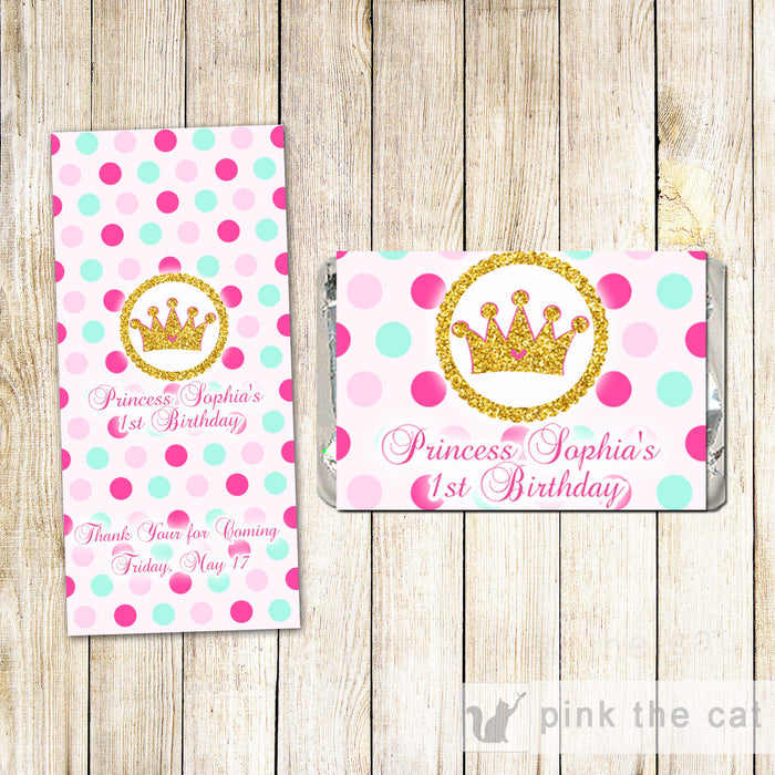 Princess Candy Label Wrapper Glitter Pink Birthday Shower