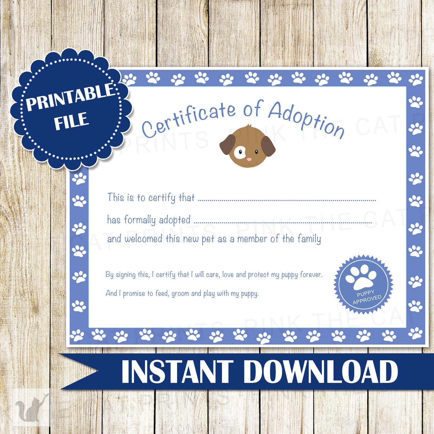 Certificate Of Adoption Puppy Birthday Party Blue Pink The Cat