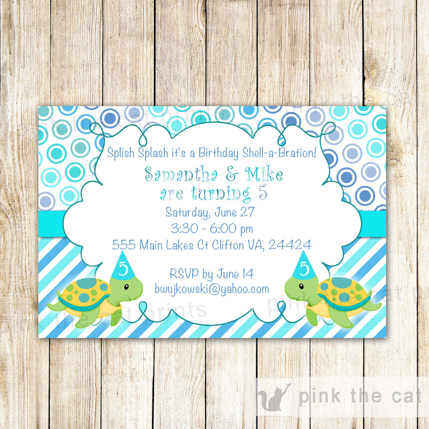 Twins Invitation Kids Birthday Party Girl Boy Pink The Cat