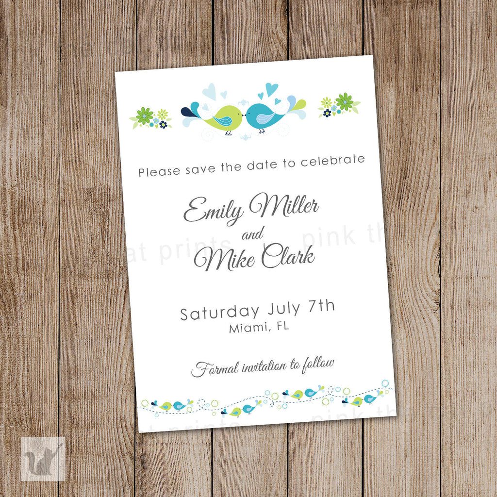 Birds Wedding Save The Date Card Navy Blue Green