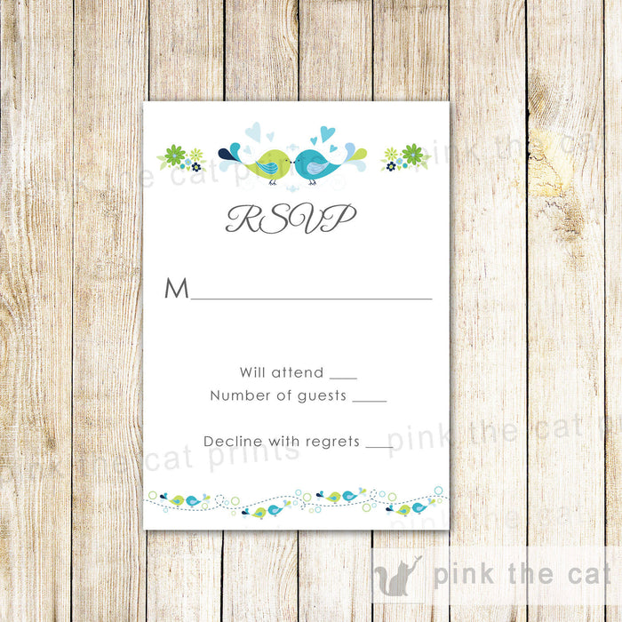 Birds Wedding RSVP Card Floral Romantica Teal Green