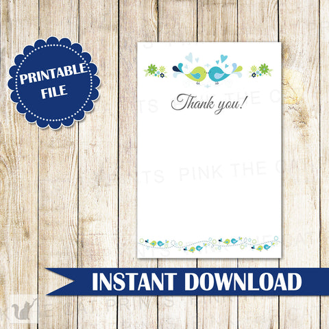 Birds Thank You Card Note Wedding Bridal Shower Blue Green