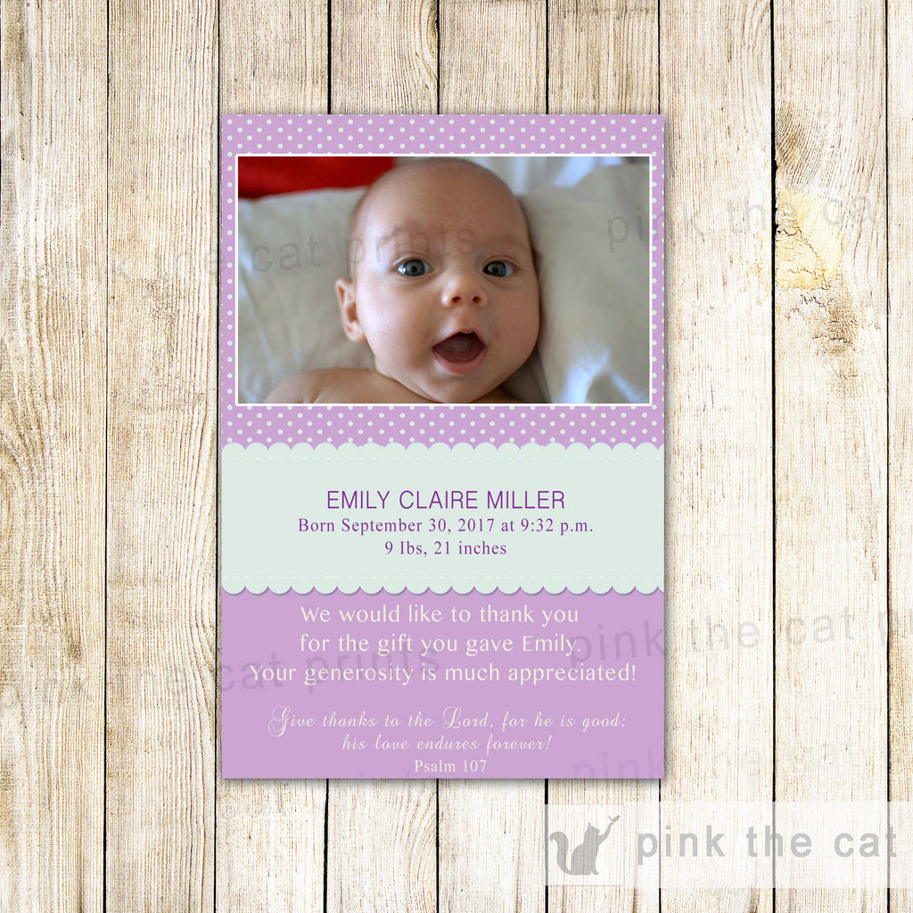 Baby Girl Birth Announcement Photo Card Purple Mint