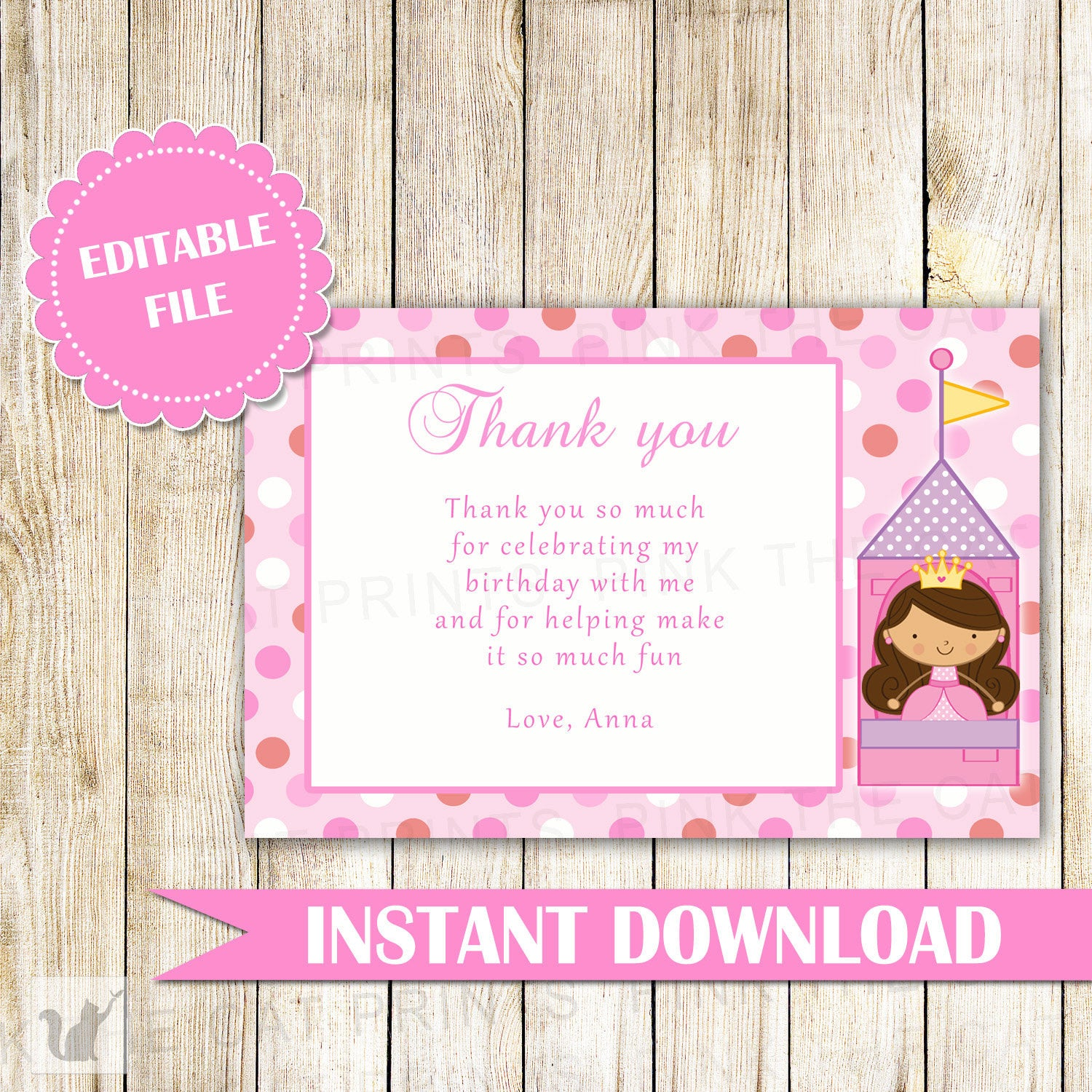 Princess Thank You Card Princess Thank You Note Princess Message