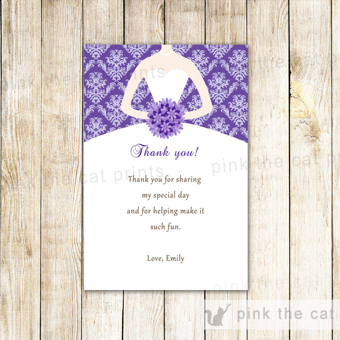 Bridal Shower Thank You Card Purple Dress Sweet 16