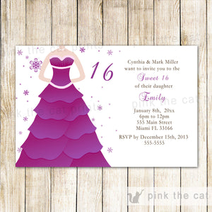 purple dress sweet 16 invitation