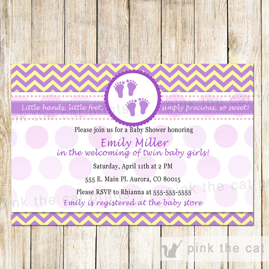 Baby Shower Twin Girls Invitation Purple Feet Yellow Chevron