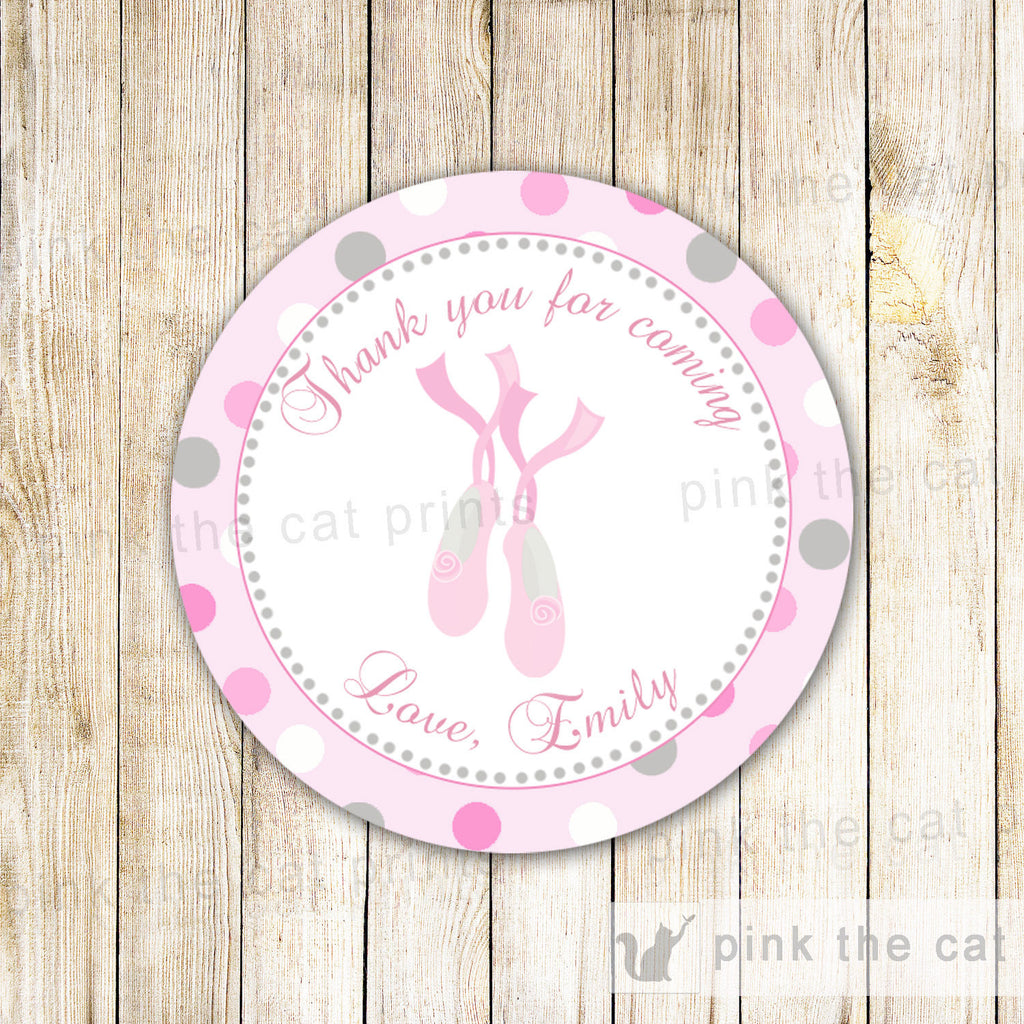 Ballerina Gift Favor Label Tag Sticker Pink Grey