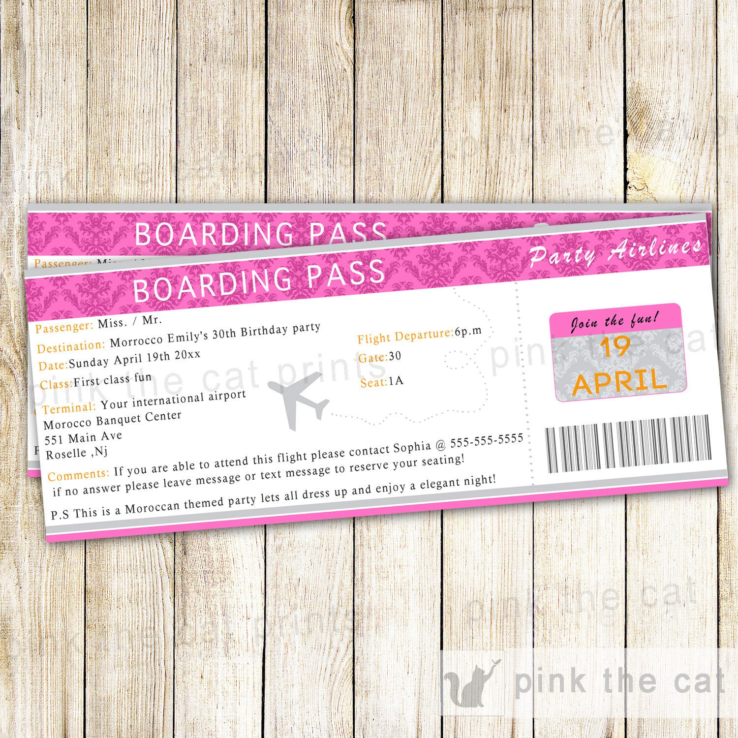 Boarding Pass Invitation Adult Birthday Party – Pink The Cat