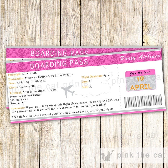 Boarding Pass Invitation Adult Birthday Party