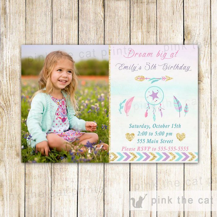 Tribal Invitation Dreamcatcher Girl Birthday Party Photo