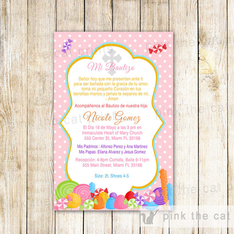 candy baptism invitation