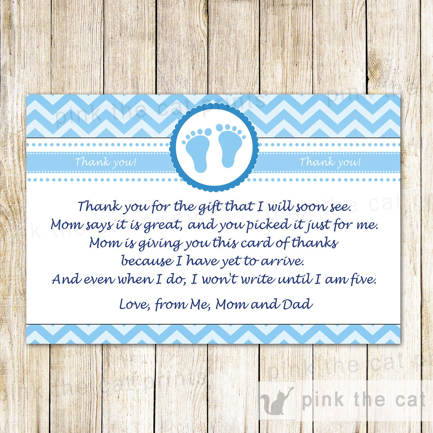 Baby Boy Shower Thank You Card Note Blue Chevron Pink The Cat