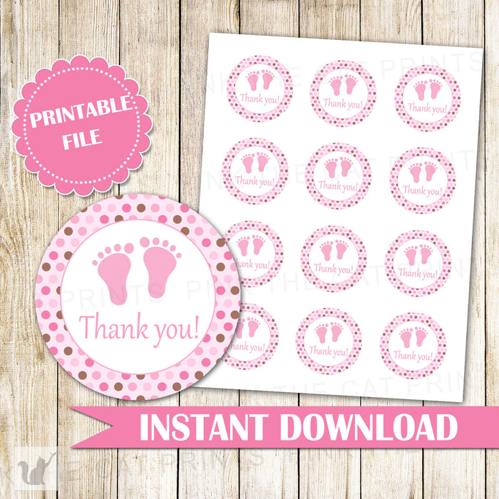 Pink Brown Baby Girl Shower Gift Favor Labels Baby Girl Shower Thank You Tag Baby Feet Tags Baby Printable File Party Favor INSTANT DOWNLOAD
