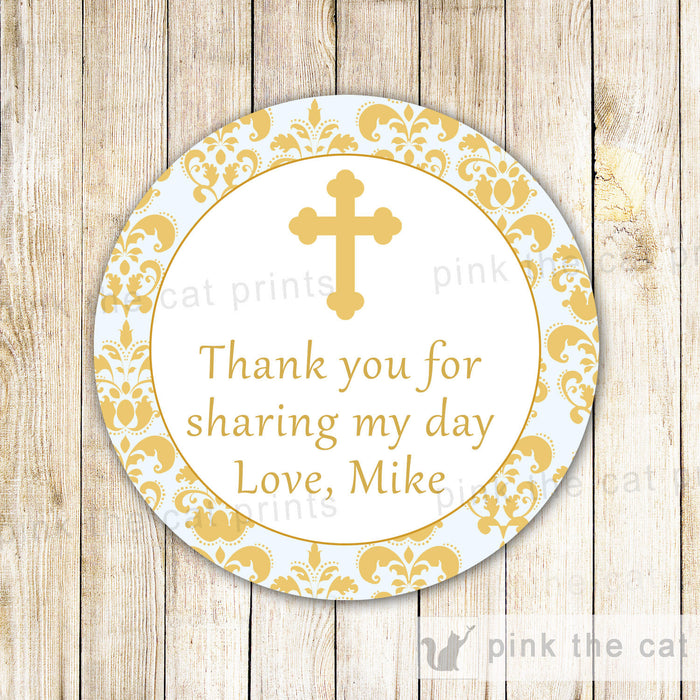 Boy Baptism Labels Christening Tags Communion Stickers Gold Damask