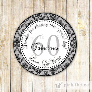 Grey Damask Adult Birthday Thank You Tag Label Sticker