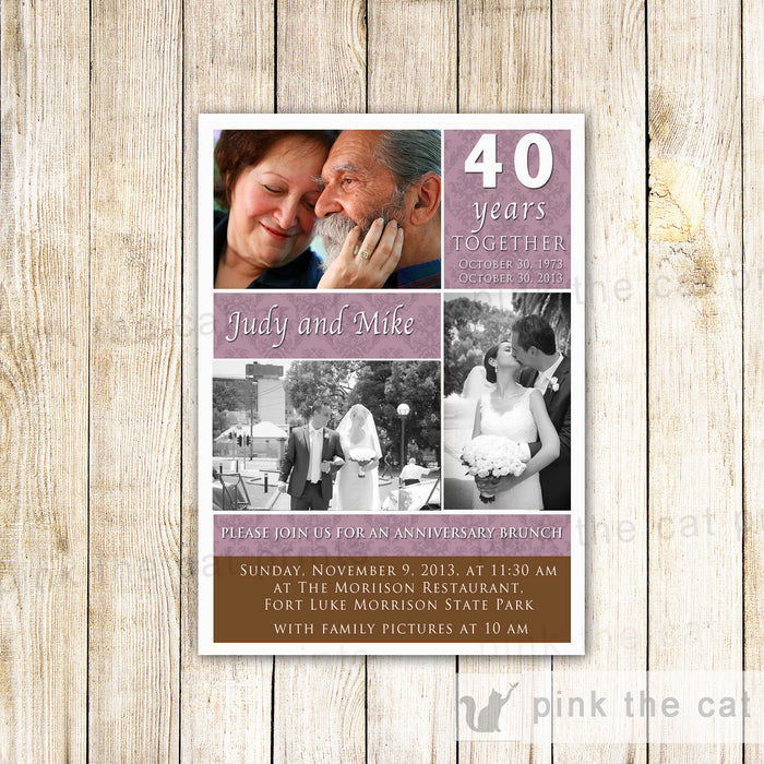 Wedding Anniversary Invitation Purple Brown Photo Card