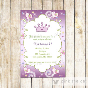 purple princess invitation