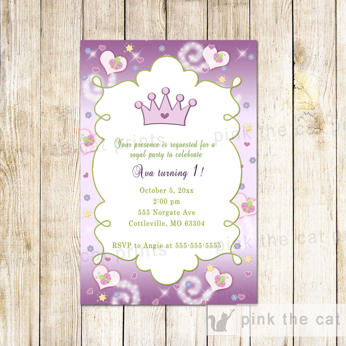 Princess Invitation Girl Birthday Baby Shower Purple Green