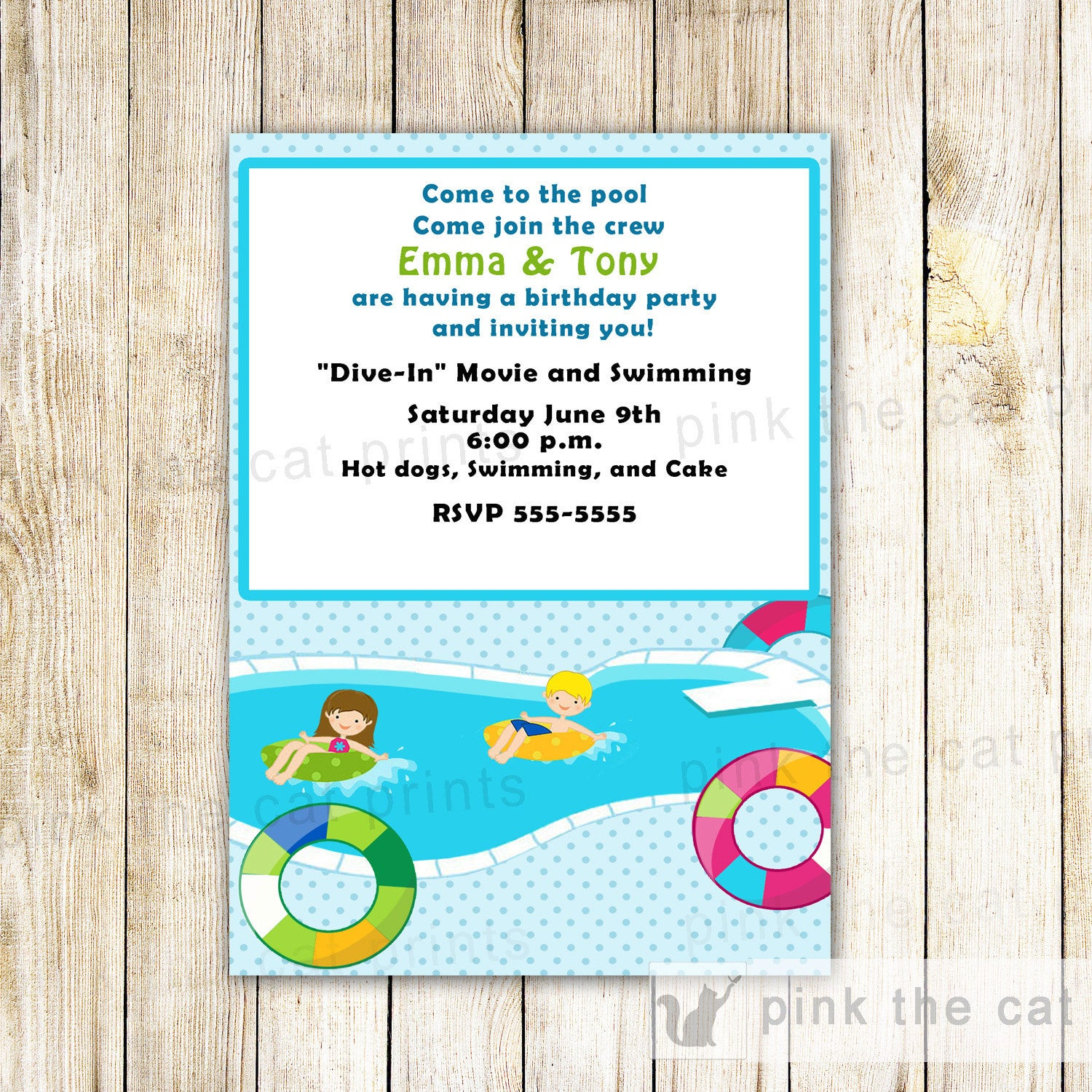 Pool Invitation Card Kids Birthday Summer Party – Pink The Cat