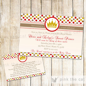 prince baby shower invitation gold red