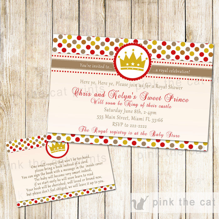 Prince Baby Shower Invitation & Bring a Book Card Gold Red