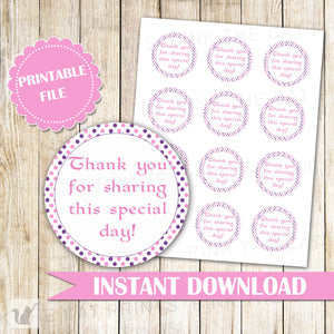 Purple Pink Polka Dots Thank You Label - Favor Stickers Party Decorations Birthday Favors Baby Shower Favors DIY Printable INSTANT DOWNLOAD