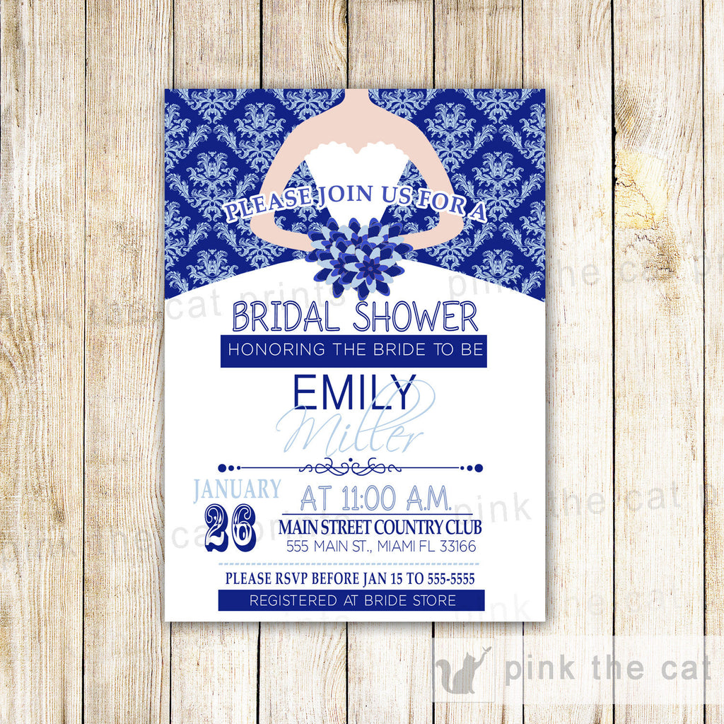 Dress Invitation Bridal Shower Sweet 15 16 Royal Blue