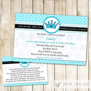 prince baby shower invitation turquoise