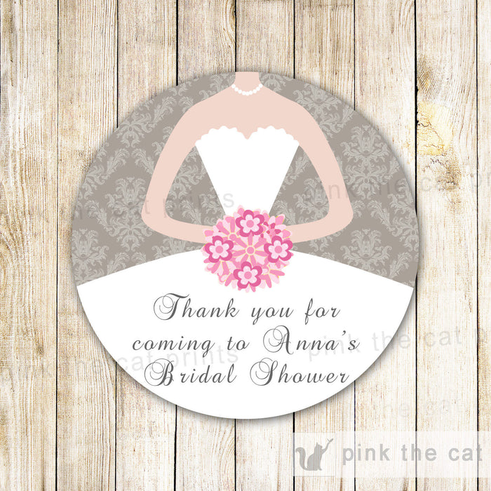 Dress Labels Bridal Shower Gift Favor Tag Sweet 16 Stickers Grey Pink
