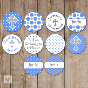 Blue Small Candy Label Sticker Baptism Christening