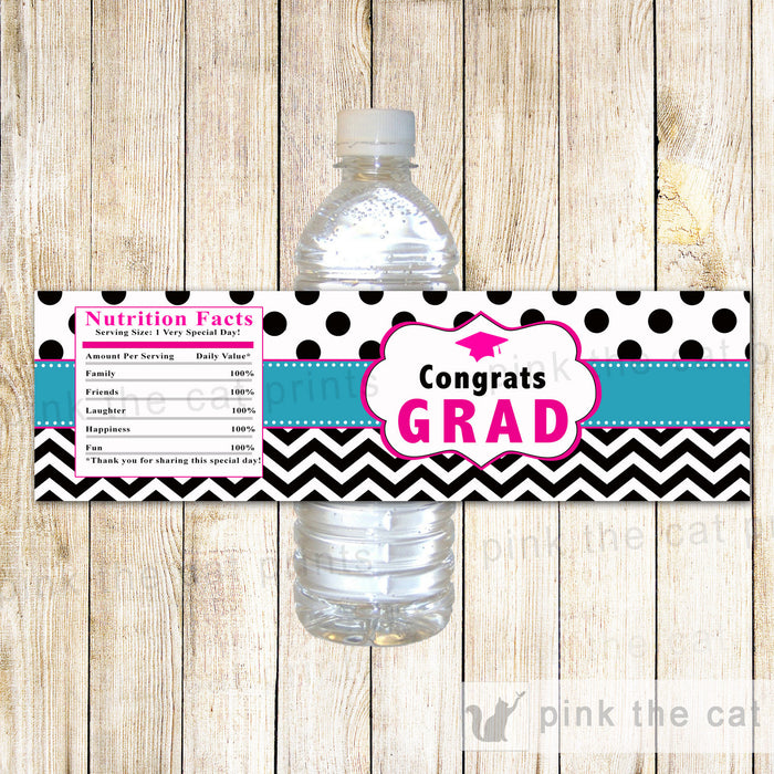 Graduation Party Bottle Labels Teal Pink