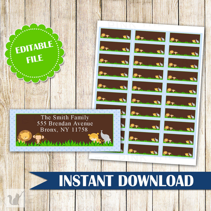 Jungle Address Labels - Blue Brown Safari Return Address Labels Kids Birthday Party Label Baby Boy Shower Sticker Editable INSTANT DOWNLOAD