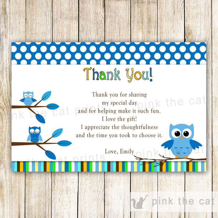 Owl Thank You Card Note Blue Birthday Baby Boy Shower