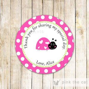 Ladybug Favor Label Gift Tag Birthday Baby Girl Shower Pink Mint