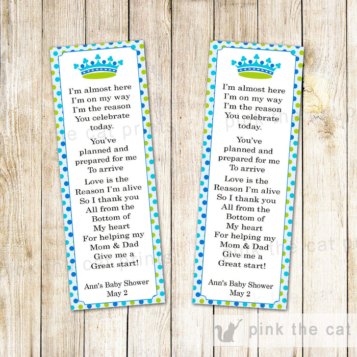 Prince Bookmark Favor Baby Boy Shower Blue Green