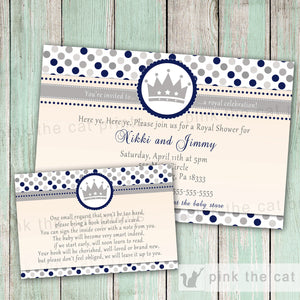 prince invitation baby boy shower grey blue