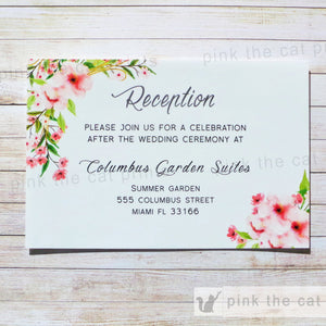 Boho Floral Wedding Reception Card Romantic Pink Mint Green