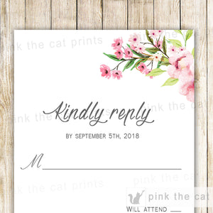 Boho Floral Wedding RSVP Card Romantic Pink Mint Green