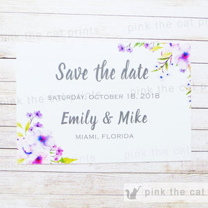 Floral Boho Wedding Save The Date Card Romantic Lavender Mint Green