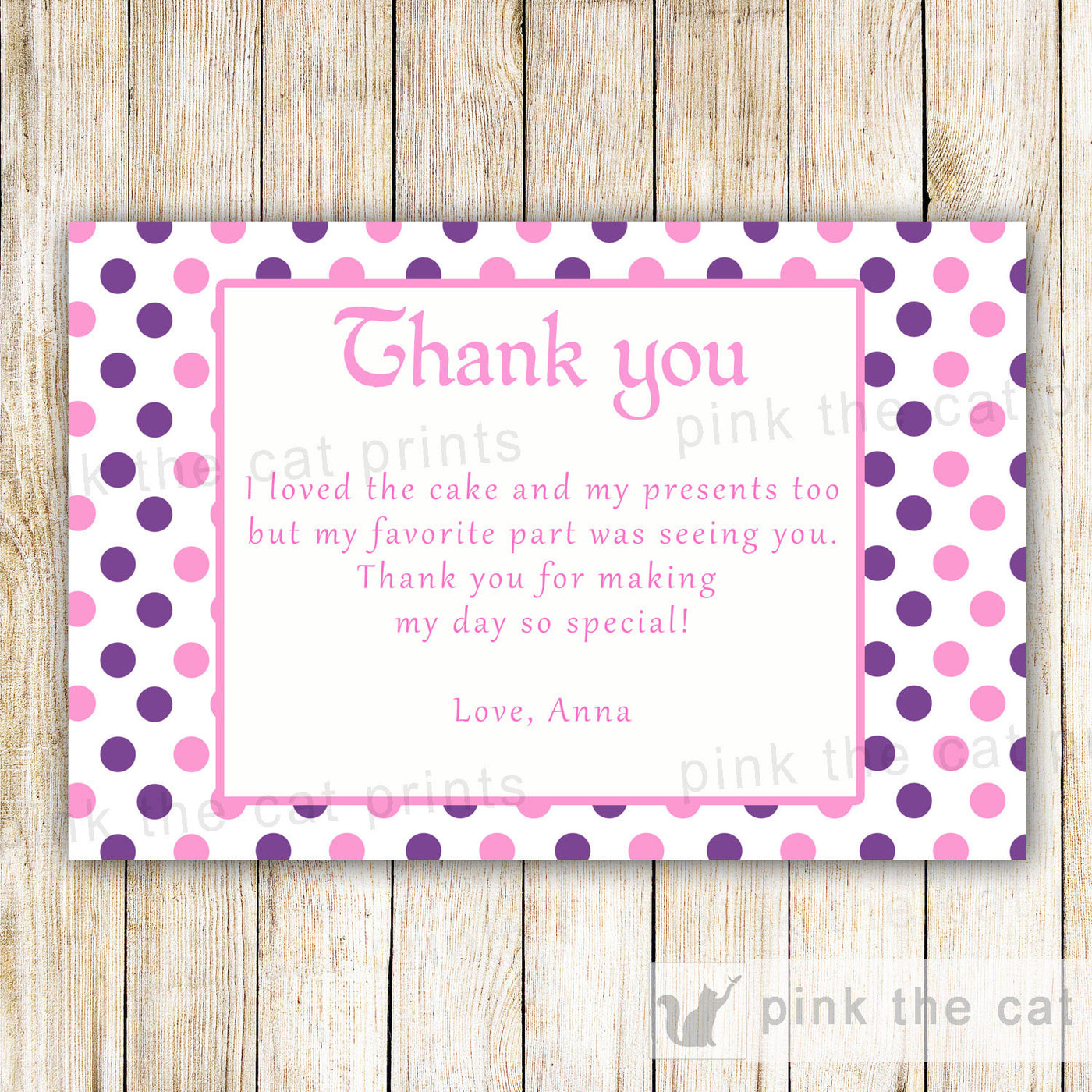 Pink Purple Thank You Card Note Girl Birthday Baby Shower Pink The Cat